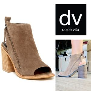 Dolce Vita Port Peep Toe Tan Suede Ankle Boots